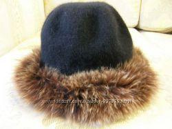 Продам шерстяную шляпку, шапку отороченную мехом песца, 57 размер.