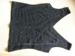 Нарядная майка, топ, блузка, с черным бисером, 46 размер.