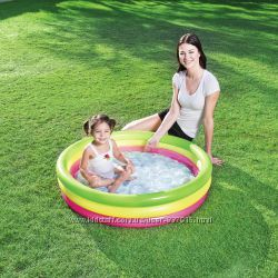 Детский надувной бассейн Радуга Bestway 51104 102х25см, надувное дно