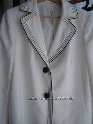 пиджак белый  жакет синий морской принт якорь