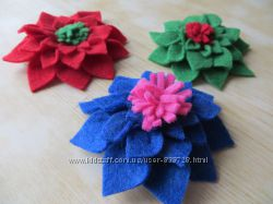 Заколки, броши, резинки - цветочки для волос из фетра