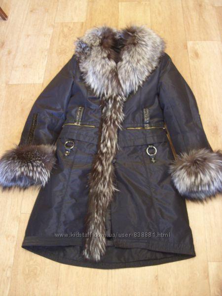 Meici Зимнее пальто пехора с натуральным мехом чернобурки. Размер М