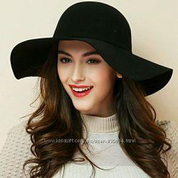 Модная трендовая шляпа с полями, черная