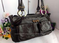 Обьемная вместительная кожаная сумка, натуральная кожа, коричневая, шоколад