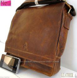 Под заказ - винтажная кожаная мужская  сумка Genuine laptop classic handbag