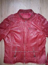 Куртка кожаная марсала красная бордо 48 размер