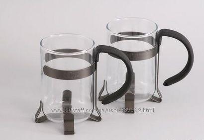 7541 GIPFEL Две стеклянные кружки для кофе GLACIER - MONTREAL 250 мл