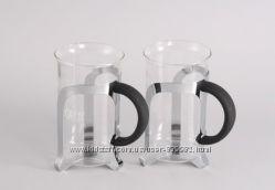 7671 GIPFEL Кофейные кружки стеклянные GLACIER 2 шт в хромированном подст
