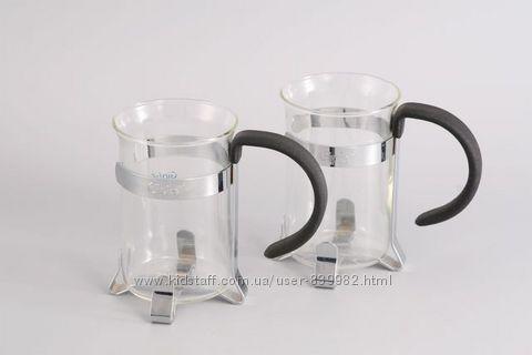 7651 GIPFEL Две стеклянные кружки для кофе GLACIER-DRESDEN 250 мл хромиров