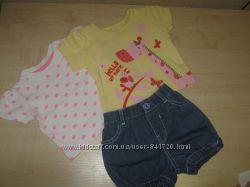 шортики и футболочки для девочки 3-6 мес