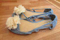 НОВЫЕ балетки-босоножки ATMOSPHERE 38 размер  24 см стелька