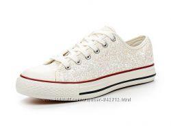 Летняя обувь - Светлые кеды с шиммером