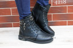 ботиночки черные на меху