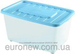 Контейнер для хранения пластиковый на колесах 46 л, 56х37х34 см, Италия