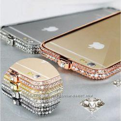 Бампер со стразами для IPhone 66s Swarovski Luxery Gold