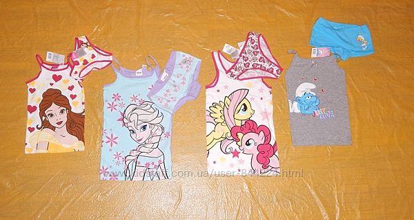 р-ры 86-128 Трусики и майка хлопковая яркий комплект для девочки, Disney