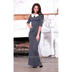 Модное элегантное тёпленькое платье в полоску