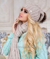 Комплект шапка с меховым бубоном  шарф. ЭЙФОРИЯ. М 4253. Много расцветок.