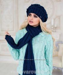 Комплект шапка  шарф, ажурная вязка. ШИШКИ. М 4148. много расцветок.