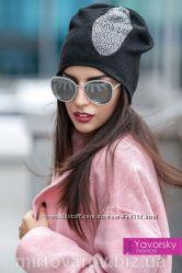 Женская зимняя шапка с россыпью камней. 170. Много расцветок.