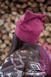 Женская замшевая шапка с ушками.  157. Много расцветок.
