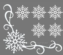 Новогодняя наклейка украшения снежинки на окно, разные