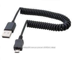 Кабель USB - micro USB спиральная навивка удлинитель 3 м папа-папа