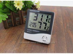 HTC-1 LCD цифровой комнатный термометр, гигрометр, часы 3в1