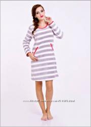 Теплые женские домашние платья-сорочки ворсовые