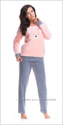 Теплые женские домашние костюмы пижамы ворсовые