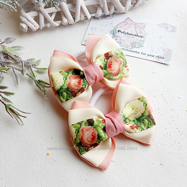 Банты украшения для волос детские резинки бантики с цветами цветочный принт