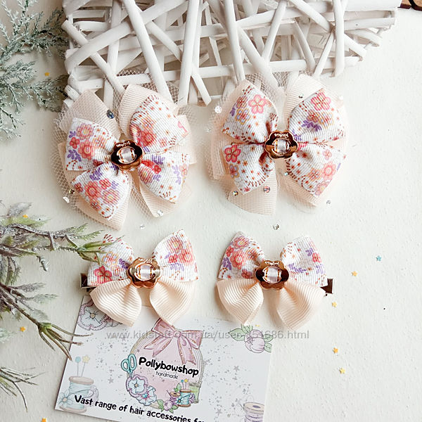 Бантики резинка с цветами бабочками банты для волос