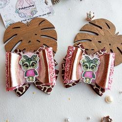 Банты резинки заколки для волос Совы детские бантики в школу в сад