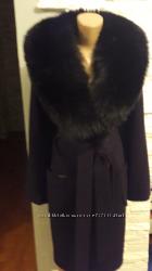 Женское зимнее пальто с меховым воротником Песец, с капюшоном и без.