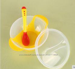Набор посуды детской для прикорма, с присоской, термоложка