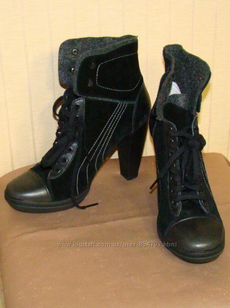 Ботинки женские демисезонные кожаные черные на каблуке Puma размер 39