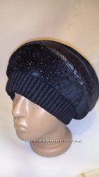 Женская шапка берет из натуральной замши