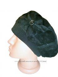 Женская шапка берет замшевый