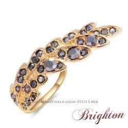 Распродажа Стильное ультрамодное женское кольцо в форме пера с кристалами