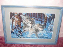Вышитая картина бисером Волки и Натюрморт