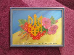 Вышитая бисером картина герб Украины
