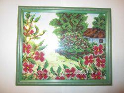 Вышивка бисером ручной работы Садок вишневий коло хати