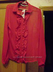 Блуза красная шифон новая р. 50