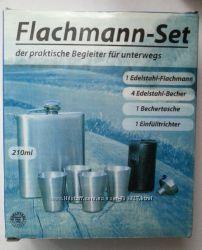 Набор фляга, 4 рюмки в чехле, лейка. Германия