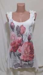 Платье-туника стрейч белое большие розы стразы Jane Norman 48-50р