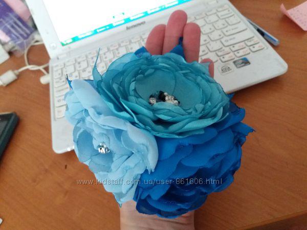 резинка для волос синий, голубой цветок