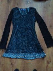 платье туника серебряное черное