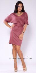 Платье розово-дымчатого цвета с рукавом летучая мышь с поясом, новое