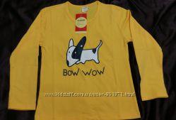 Детская ярко-жёлтая кофточка с собачкой, 120-130, новая