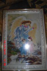вышитая картина икона чешским бисером  Ангел хранитель